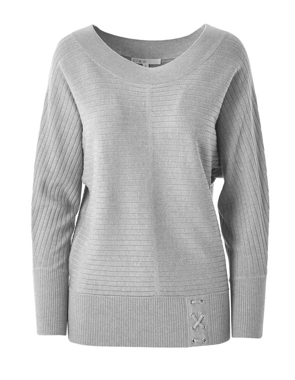 Grey Ribbed Dolman Sweater, Grey, hi-res