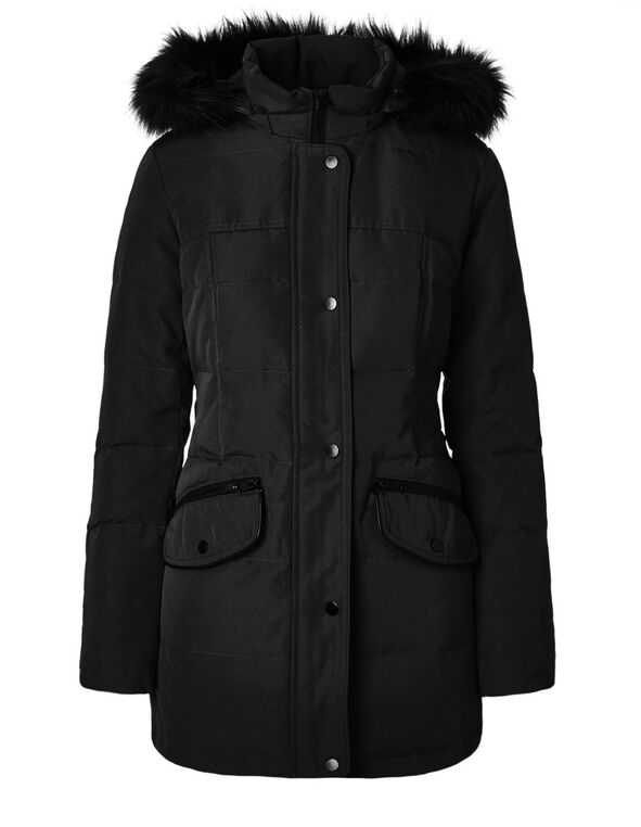 Black 50/50 Down Coat, Black, hi-res