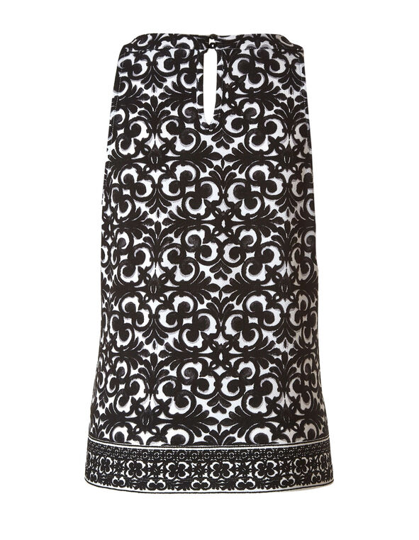 Black & White Patterned Crepe Top, Black/White, hi-res