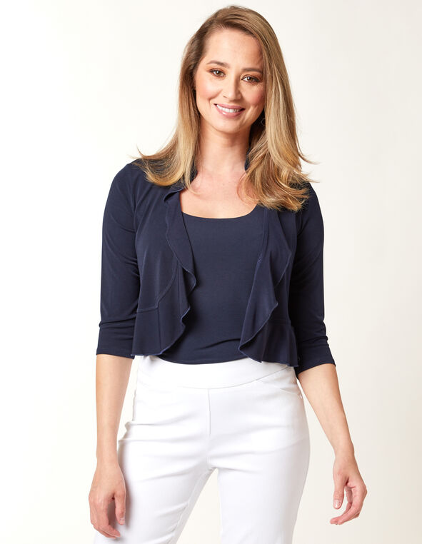Ruffle Shrug, Navy, hi-res