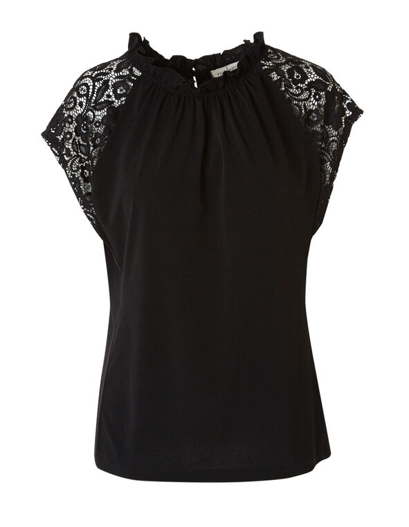 Black Lace Sleeve Top, Black, hi-res