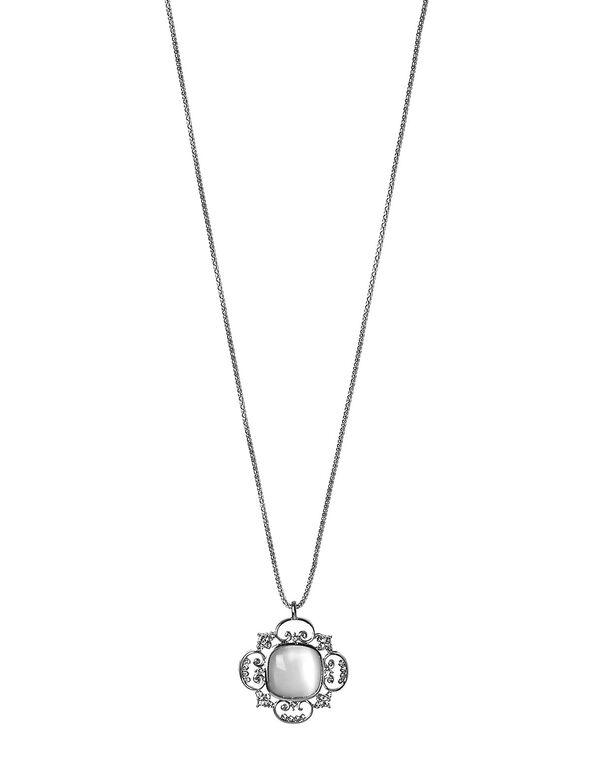 White Cat Eye Pendant Necklace, Silver, hi-res