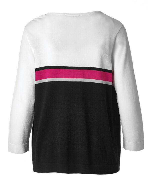 White Striped Crepe Cardigan, White/Black/Pink, hi-res