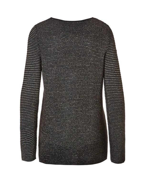 Gold Ottoman Sweater, Black/Gold, hi-res