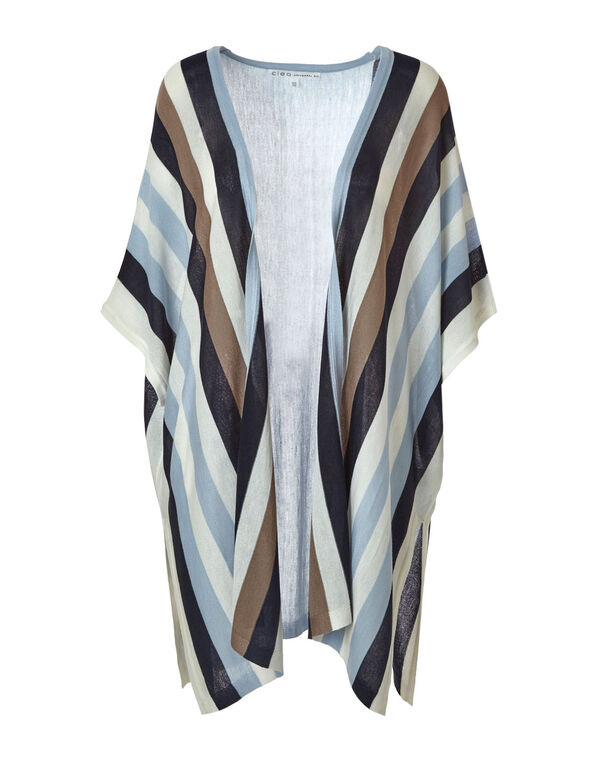 Blue Striped Kimono Sweater, Blue/Neutral, hi-res