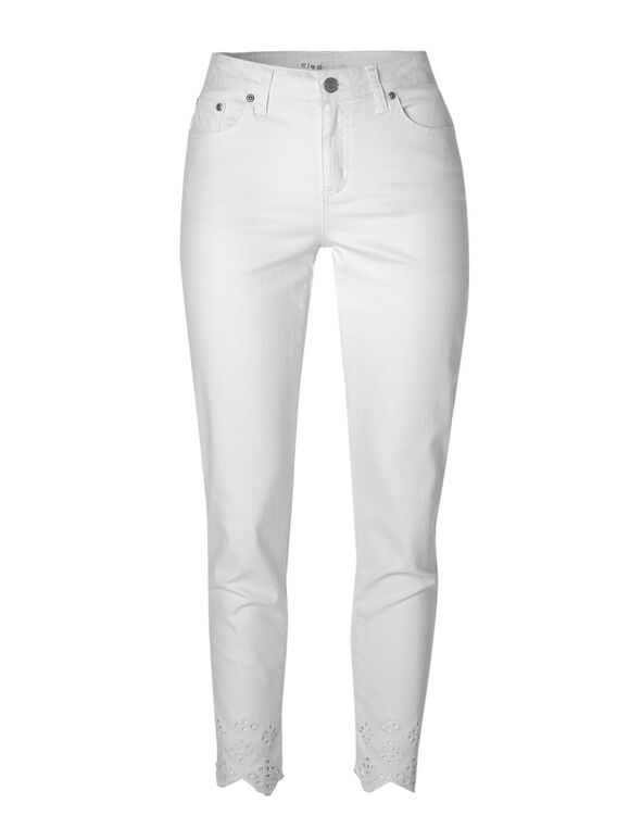 White Scallop Hem Cotton Jean, White, hi-res