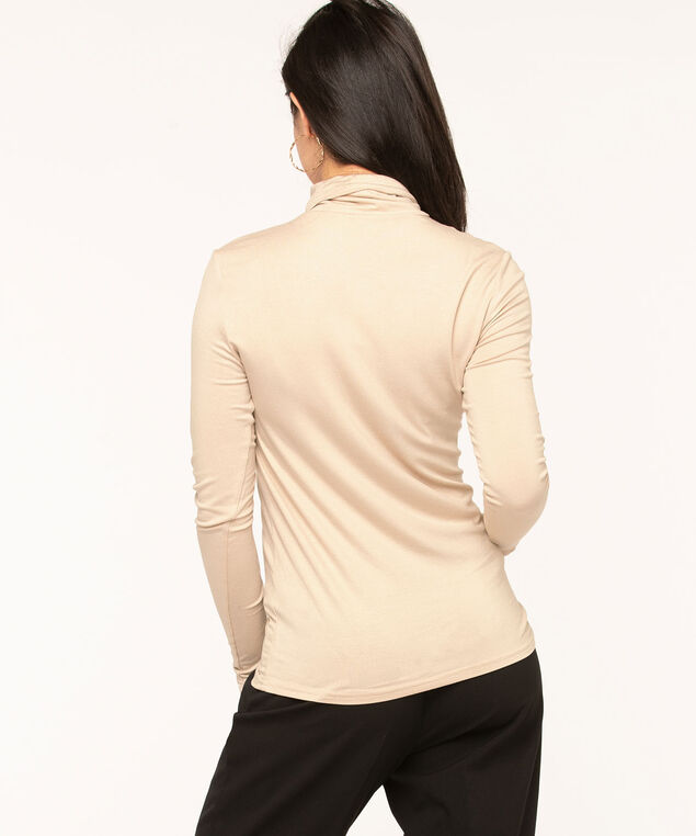 Layering Essential Turtleneck, Stone/Gold Shimmer