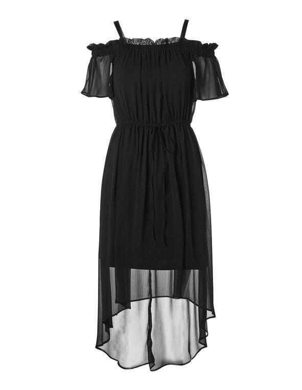 Black Chiffon High-Low Dress, Black, hi-res
