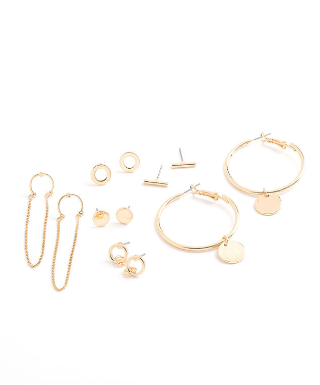 Gold Earring 6-Pack, Gold