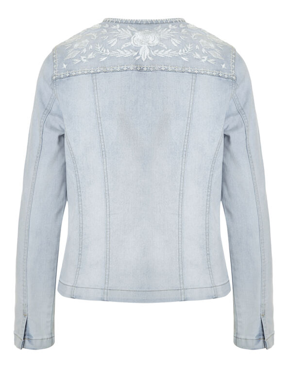 Bleach Embroidered Denim Jacket, Bleach Wash, hi-res