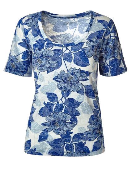 Blue Floral Burnout Tee, Blue/White, hi-res