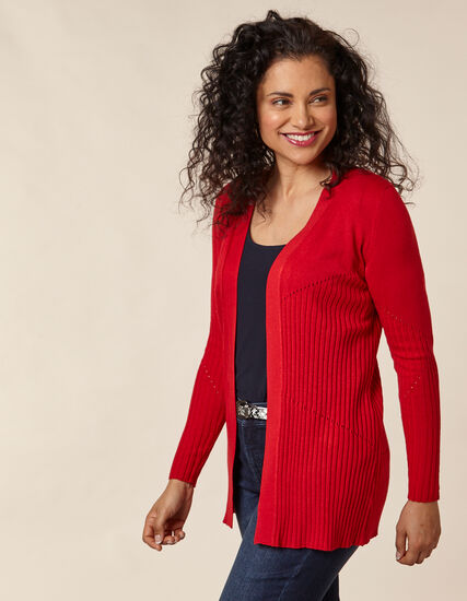 Poppy Long Rib Knit Cardigan, Red/Poppy, hi-res