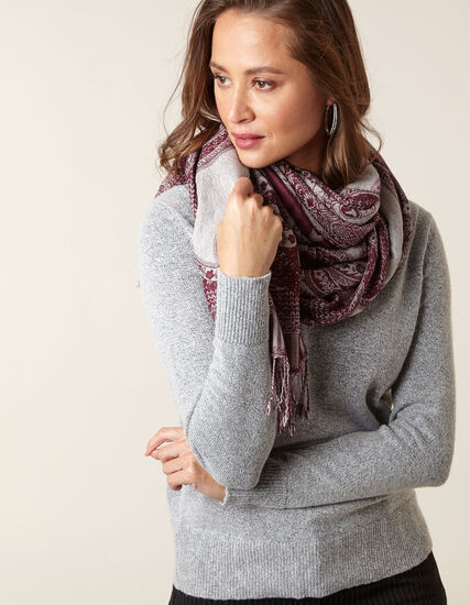 Grey Cross Neckline Sweater, Grey, hi-res