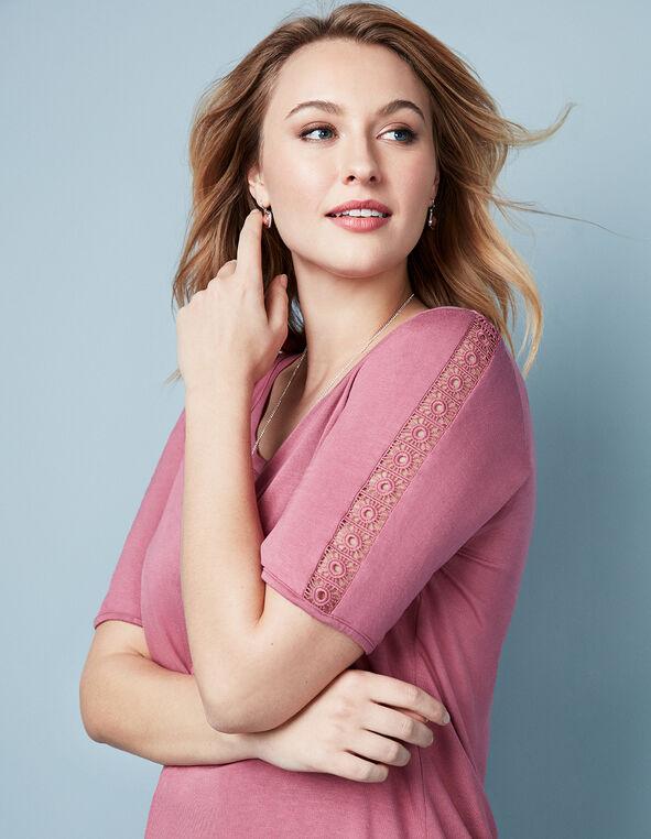 Rose Crochet Sleeve Tee, Rose, hi-res