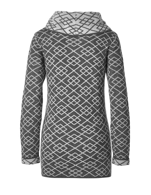 Grey Patterned Tunic Sweater, Grey, hi-res