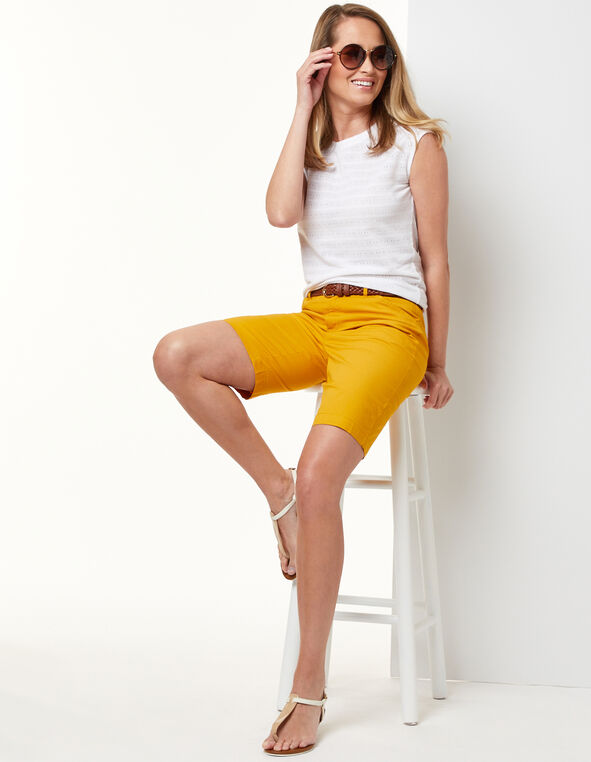Gold Poplin Short, Gold/Yellow, hi-res