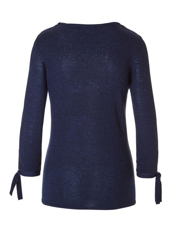 Navy Tie Pullover Sweater, Navy, hi-res