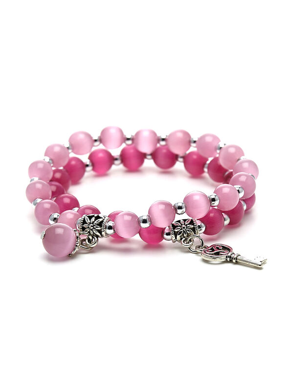 Pink Cat Eye Beaded Bracelet, Pink, hi-res