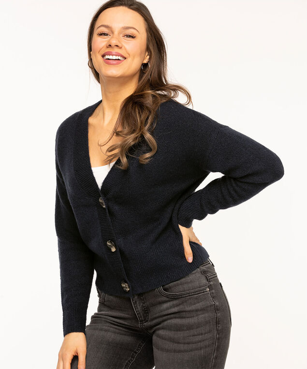 Button Front V-Neck Cardigan, Navy