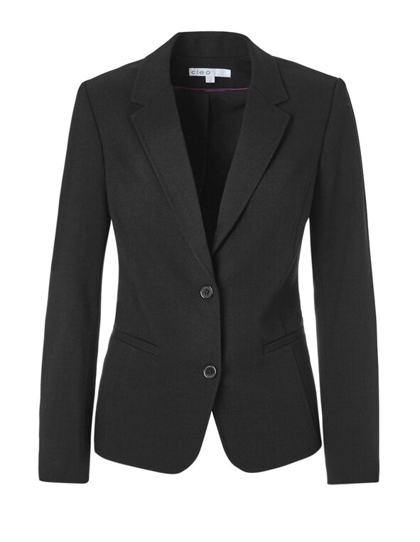 Black Suiting Blazer, Black, hi-res