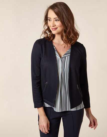 Navy Zip Pocket Blazer, Navy, hi-res