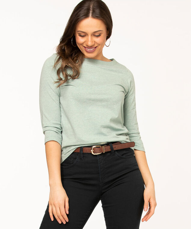 Boat Neck 3/4 Sleeve Tee, Light Teal Mix
