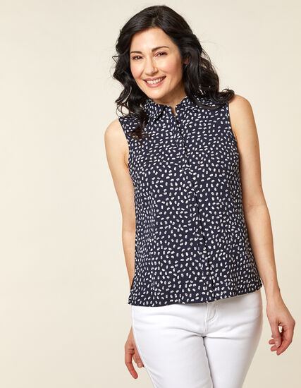 Navy Print Collared Button Blouse, Navy, hi-res