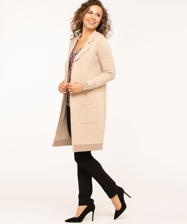 Long Notch Collar Sweater Coat, Tan, hi-res