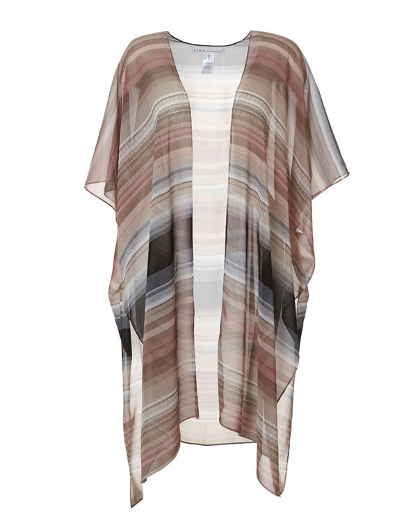 Pink & Neutral Striped Kimono, Pink, hi-res