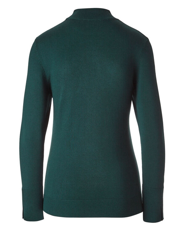 Peacock Mock Neck Sweater, Peacock, hi-res