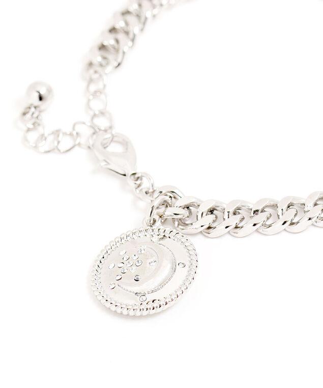 Rhodium Moon Charm Bracelet, Rhodium