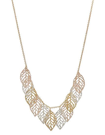 Gold Leaf Short Statement Necklace, Gold, hi-res
