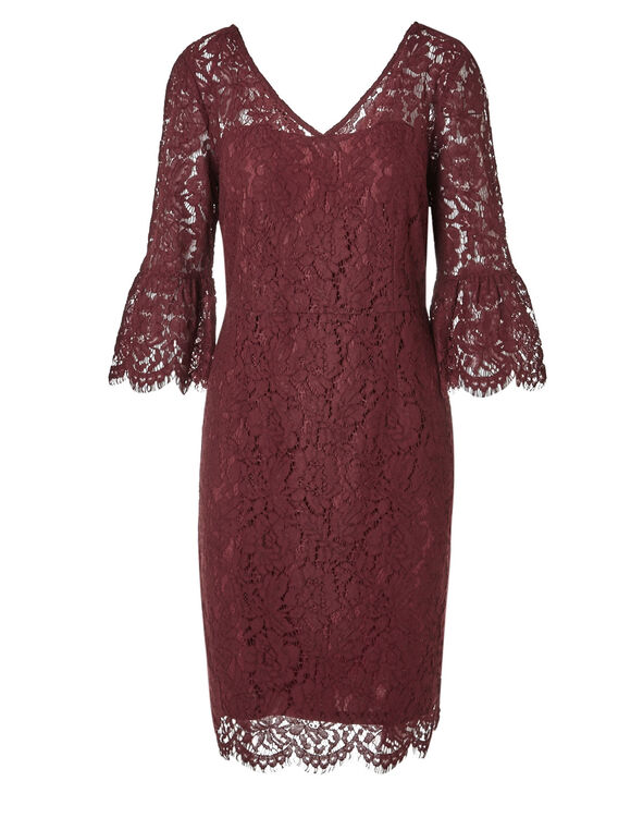 Red Lace Shift Dress, Red, hi-res