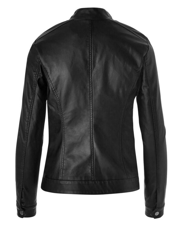 Scuba Faux Leather Stud Jacket, Black, hi-res
