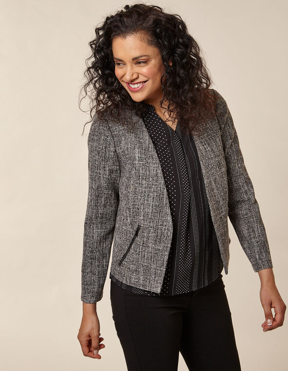 Salt & Pepper Zip Pocket Blazer, Black/White, hi-res