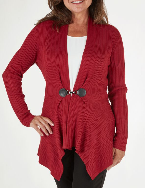 Red Buckle Rib Cardigan, Red, hi-res