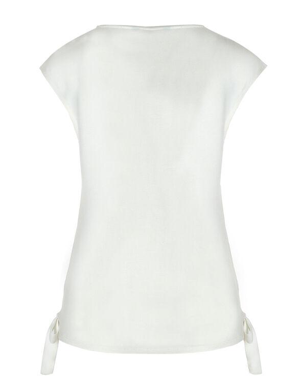 Ivory Floral Side Tie Top, Ivory, hi-res