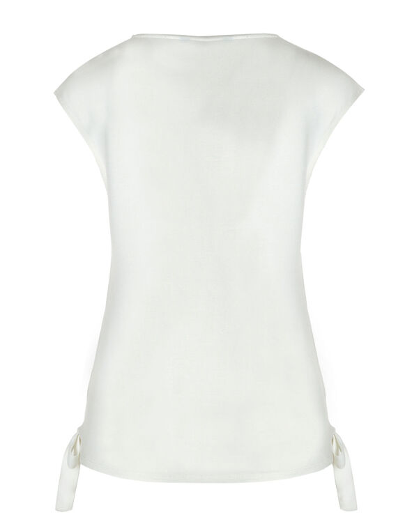 Ivory Floral Side Tie Top, Ivory, hi-res