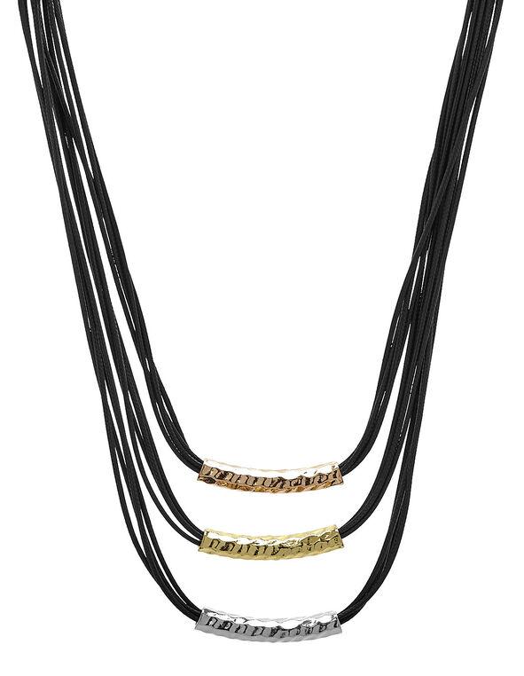 Black Tri-Metal Short Necklace, Black, hi-res