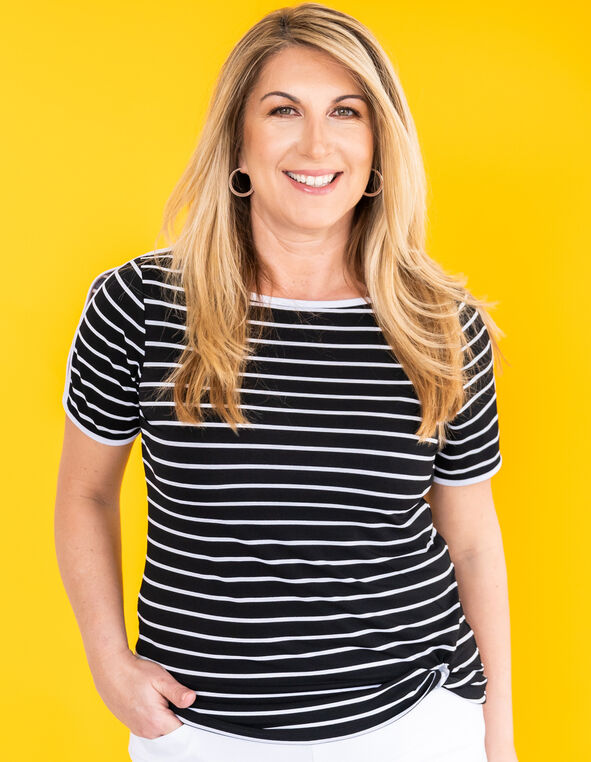 Black Striped Front Knot Top, Black, hi-res