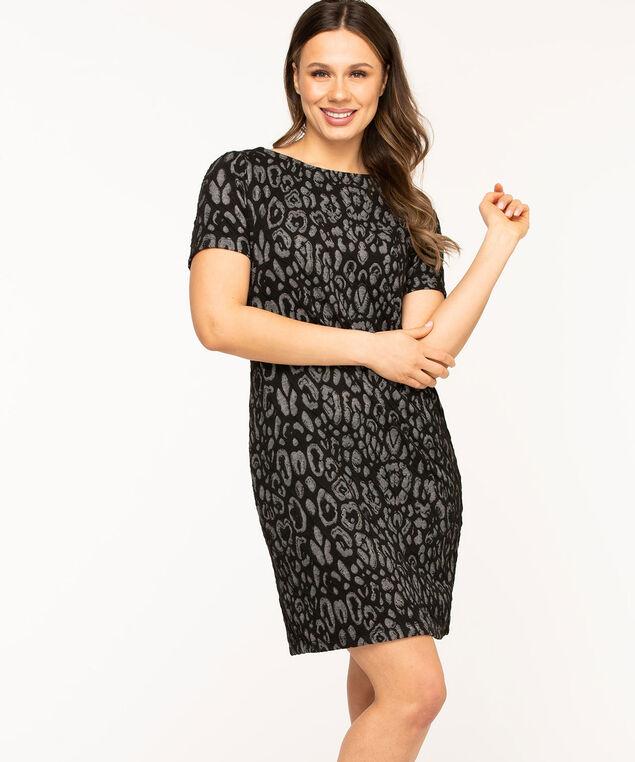 Jacquard Animal Print Dress, Black/Grey Leopard