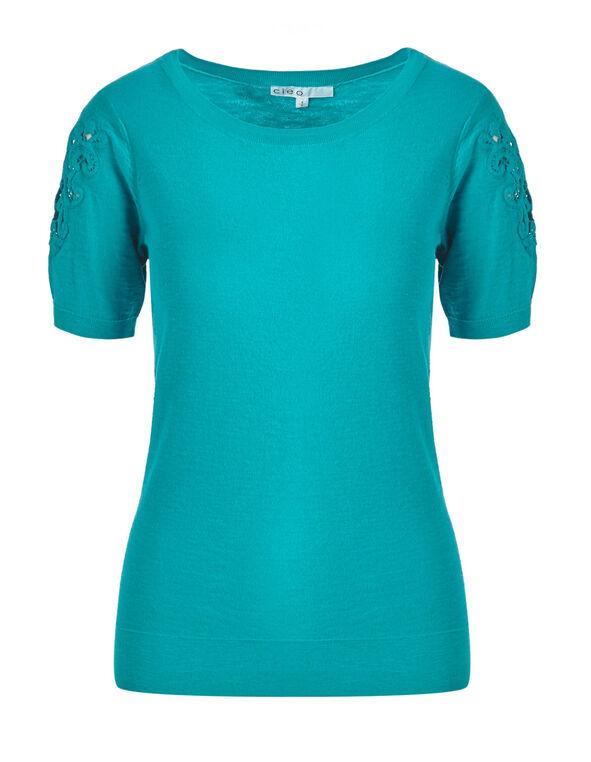 Summer Turquoise Slub Cotton Pullover, Summer Turquoise, hi-res