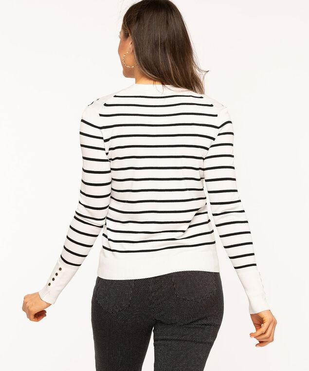V-Neck Snap Front Cardigan, White/Black Stripe