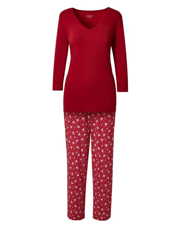 Red Reindeer Cotton Pyjama Set, Red, hi-res