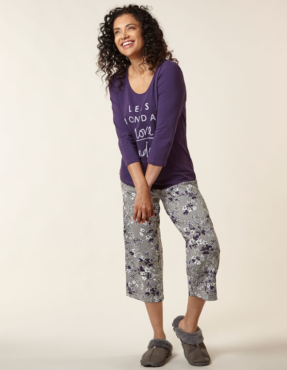 Purple Floral Print Cotton Pyjama Set, Purple, hi-res