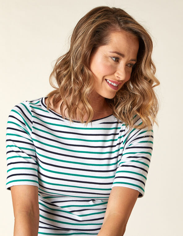 White Stripe Boatneck Tee, White/Green, hi-res