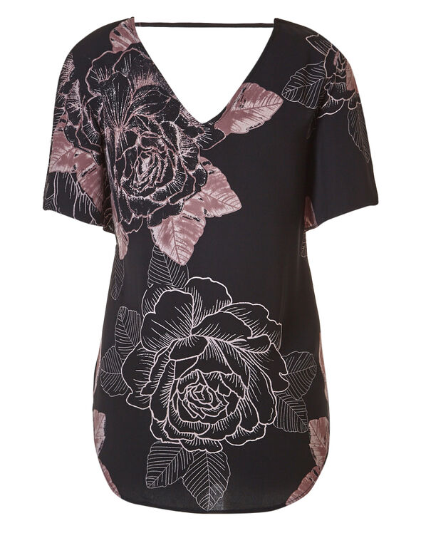 Black Midi Blouse, Black / Mauve, hi-res