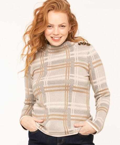 Button Detail Mock Neck Sweater, Camel/Sand/Grey, hi-res
