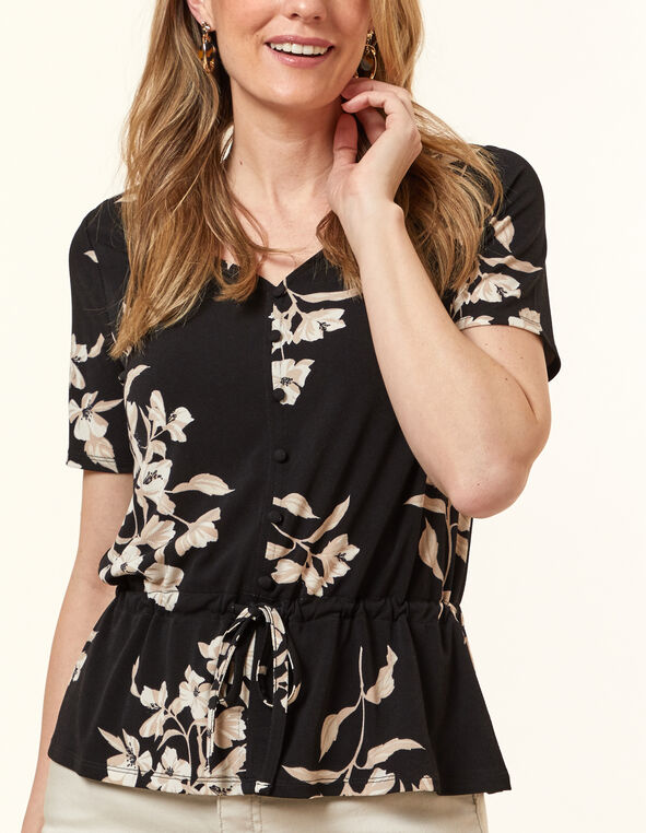 Black Floral Peplum Top, Black, hi-res