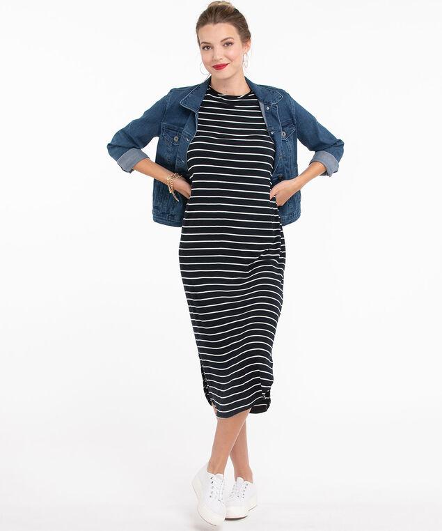 Striped Curved Hem Midi Dress, Navy/White Stripe